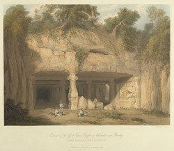 Exterior of the great Cave Temple of Elephanta, near Bombay, drawn in 1803